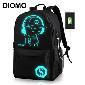 DIOMO Luminous Backpack Men with USB Charging Port School Bags for Boys Anime Laptop Anti Theft Backpack Teens Travel Bag Pack