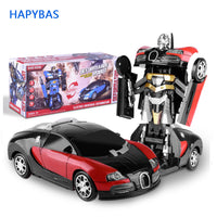 Electronic Deformation Music Car Toys Cool Light Transformer Robot Car Toys Univeral Wheel