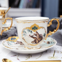 Newest arrival porcelain coffee cup set jungle animal coffee cup and saucer bird monkey style gold Bone China tea cup
