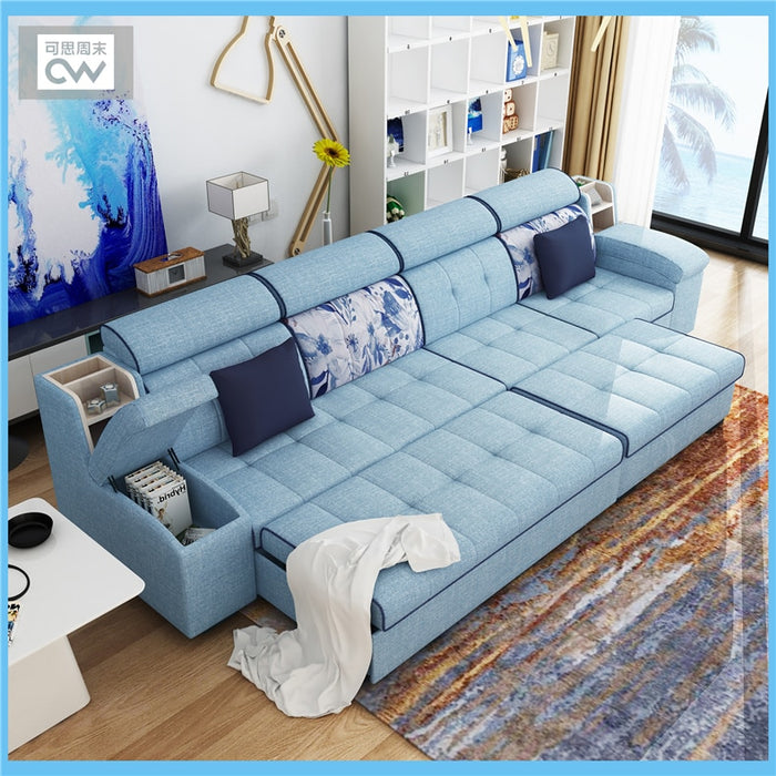linen fabric sofa bed living room furniture couch/velvet cloth sofa  bed living room sofa bed
