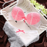 Sexy Lace Women Bra Set Three Quarters Underwire Bra And See-through Bowknot Lace Panty B Cup