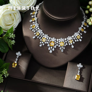 HIBRIDE Exclusive African Cubic Zircon CZ Nigerian Jewelry sets for Women Wedding Dubai Yellow Color Bridal Jewelry Set N-984