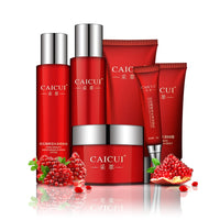 6 pcs CAICUI Red Pomegranate Face Care Set Deep-Moisture Cleansing Lotion Repairing Cream