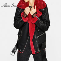 New Winter Faux Shealing Sheepskin Coat 2019 Women PU Leather Red Lamb Motorcycle Thick Suede Jacket Female Flocking Coats