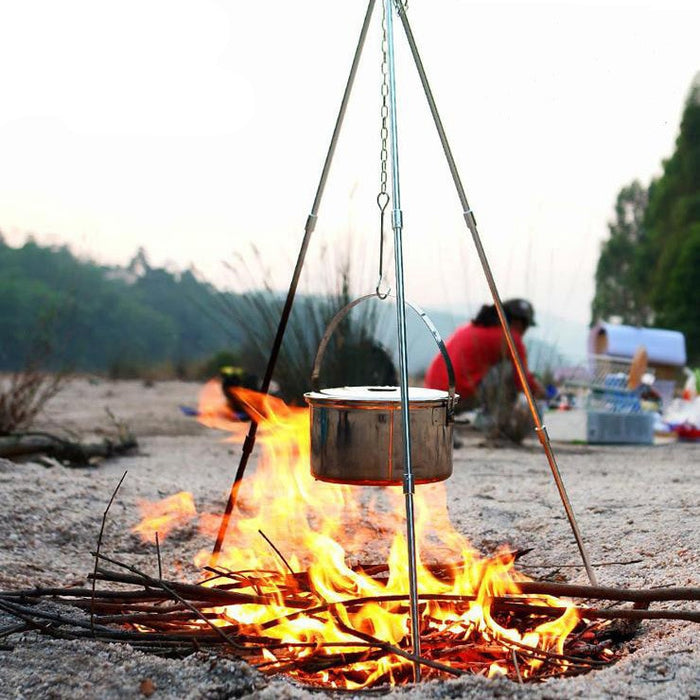 Outdoor Camping Picnic Cooking Tripod Hanging Pot Durable Portable Campfire Picnic Pot