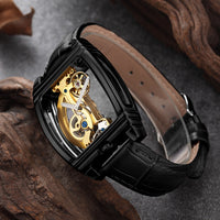 Transparent Automatic Mechanical Watch Men Steampunk Skeleton Luxury Gold Dial Turbillon Self-wind Mens Clock Tourbillon Watches