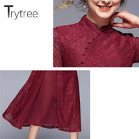 Trytree Summer Autumn Chinese Style Solid Dress Mandarin Collar Button Lace women dresses Split Hem A-Line Mid-Calf Casual Dress