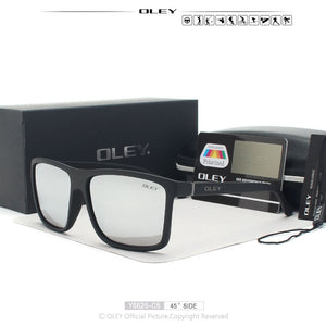 OLEY Brand Vintage Style Sunglasses Men Classic Male Square Glasses Driving Travel Eyewear