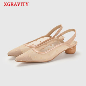 XGRAVITY Sandals Mesh All Matched Spot Design Pointed Toe Sexy Dress Shoe Ladies Summer Women High Heel Strange Heel Pumps A145