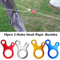 10 pcs/Set Outdoor Survival Camping Tent Cord Rope Fastener Line Runner Carabiner Hook Hanger Tightener Buckle Tent Accessories