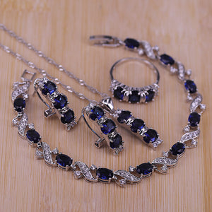 Natural Silver 925 Costume Jewelry Set Hoop Earrings/Pendant/Necklace/Rings/Bracelet Set Blue Stone White Cubic Zirconia Set