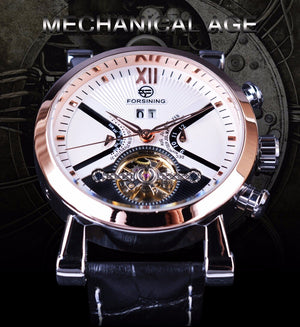 Forsining Classic Tourbillion Design Calendar Genuine Leather Strap Mens Watches Top Brand Luxury Mechanical Automatic Watches