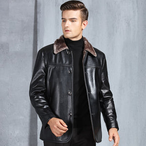 HOT 2018 Winter Male New Warm Skin Wool fur Coat Genuine Leather Jacket Sheepskin Solid Thick Coat Clothing
