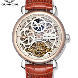 GuanQin 2018 Fashion Big Dial Men Watch Top Brand Tourbillon Automatic Watch Men Moon Phase HD Luminous 10bar waterproof Swim