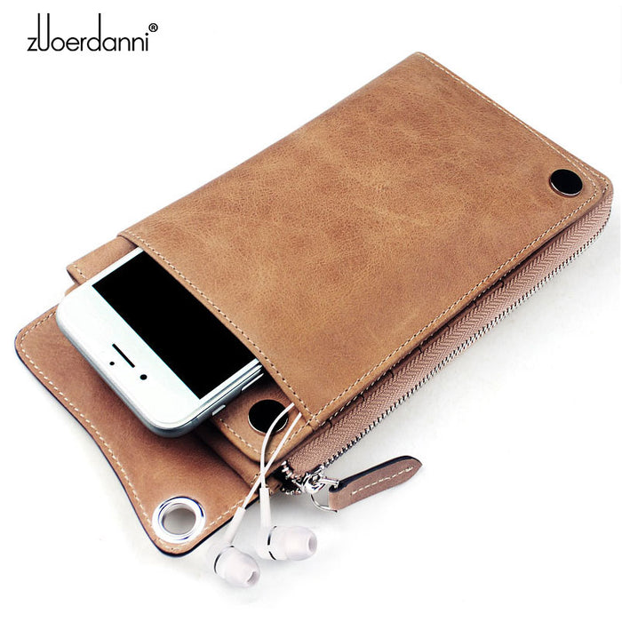 High Quality Men' s zipper wallet cowhide phone wallets multi-functional hand bag
