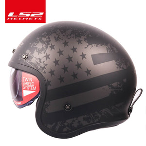 LS2 Global Store LS2 Spitfire Vintage Motorcycle helmet Fashion design retro helmets LS2 of599 casque moto with Bubble buckles