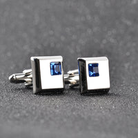 2 Color high quality fashion male French shirt cufflinks Brand cuff buttons square wedding party white/blue crystal cuff links