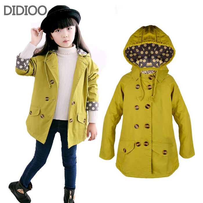 Children jackets for girls coat  fashion autumn Double-breasted big children size 2-14