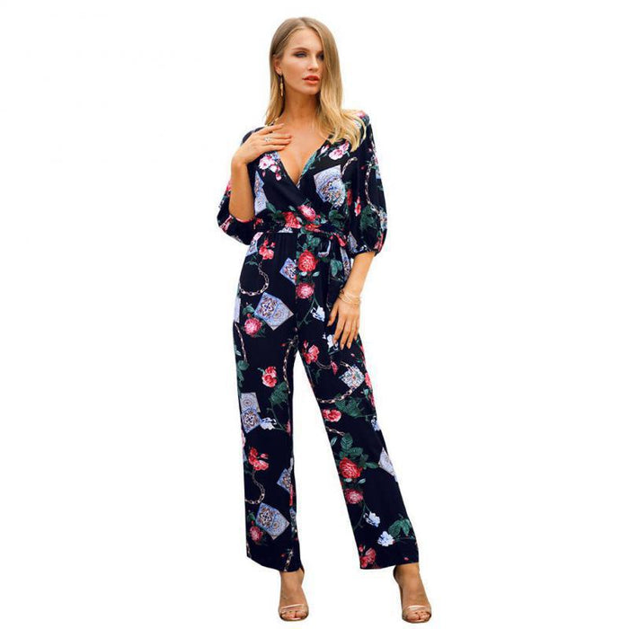 NFIVE Brand 2019 Women's Thin Loose Jumpsuits Spring Summer New Fashion Print Sexy