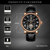 KINYUED Fashion Brand Tourbillon Mechanical Watch Men Automatic Waterproof Skeleton Leather Moon Phase Watch Gold Montres Homme