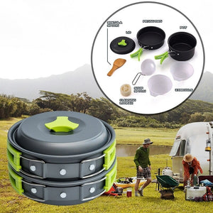 Outdoor Cookware Set Camping Cooking Equipment Utensils Kit Folding Cookset Backpacking Gear Scouting Survival Hiking Dishwear
