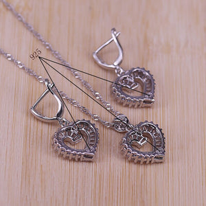 Trendy 925 Sterling Silver Jewelry Set For Women Heart CZ Stone Charm Pendants Necklaces Earrings Rings LOVE Anniversary Gift