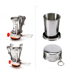 1Set  Camping Pot Cookware Sets Mini Gas Stove With Stand Fork Spoon Knife  Utensils Outdoor Tableware Dinner Picnic Tableware