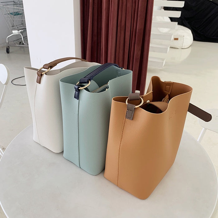Newest Fashion Bucket Bag Summer Women pu Leather Shoulder Bag Lady Soft PU Leather
