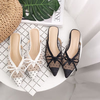 2019 New Korean version of the red lace net yarn wave point pointed flat bottom half drag Muller shoes  slippers women