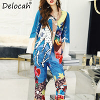 Delocah Spring Summer Women Set Runway Fashion Designer Flare Sleeve Vogue Printed Elegant Modern Casual Long Pants Ladys Suits