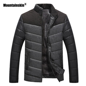 Mountainskin Winter Men's Jacket Fleece Thicken Thermal Coats Casual Stand Collar Warm Parkas Coat Mens Brand Clothing SA549