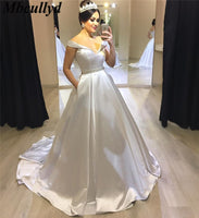 Mbcullyd A-line Wedding Dresses 2019 Elegant Sweep Train Bridal Gowns Luxury Satin White Robe De Mariee Plus Size Wedding Dress