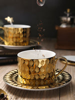 The West Luxury Style Gold Coffee Cup & Saucer Sets Spoon Tasse Taza Copo Scented Tea Espresso Cappuccino Mug Cafe Xicara Teacup
