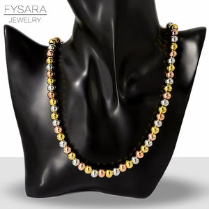FYSARA Black Rose Gold Color 8MM Stainless Steel Ball Necklace For Women Men Fashion Jewelry Beads Choker Heavy Necklaces Punk