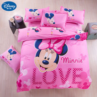 Minnie mouse Bedding Set Cover pillowcase quilt mickey mouse cartoon Children bedclothes  bed set Disney  Home textile