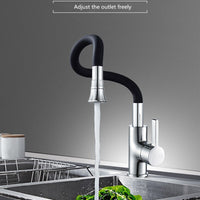 Silica Gel Nose Any Direction Rotating Kitchen Faucet Cold and Hot Water Mixer Torneira Cozinha Single Handle Tap