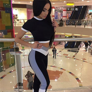 Sexy Patchwork Sport Sets Jogging Suits For Women Fitness Wear Sports Shirt+Yoga Pants Gym