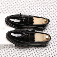 LAISUMK Classic Black Patent Leather Wedding Shoes Mens Wingtip Slip-On Loafers Tassel Fringe Formal Dress Shoes