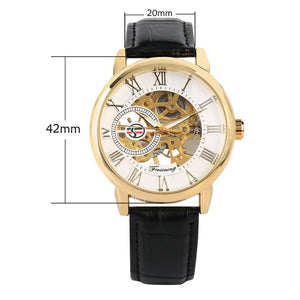 Business Mens Hand-Wind Mechanical Watches Casual Skeleton Mechanical Watch for Teenagers Black Leather Skeleton Watch for Boy