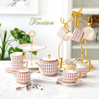 Nordic Bone China Coffee Set Gold Inlay Porcelain Tea Set Luxury Pot Cup Advanced Ceramic Mug Sugar Bowl Creamer Teapot Milk Jug