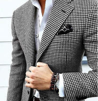 Mens Checkered Suit Houndstooth Custom Made Men Dress Suits,Tailored Casual Men Suits Weave Hounds Tooth Check,Only One Jacket