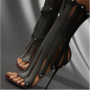 US4-12 Womens Peep Toe Rivets Tassels PU Leather Ankle Hollow Out Belt Buckle Stilettos High Heel Sandals Shoes Rome Gladiator