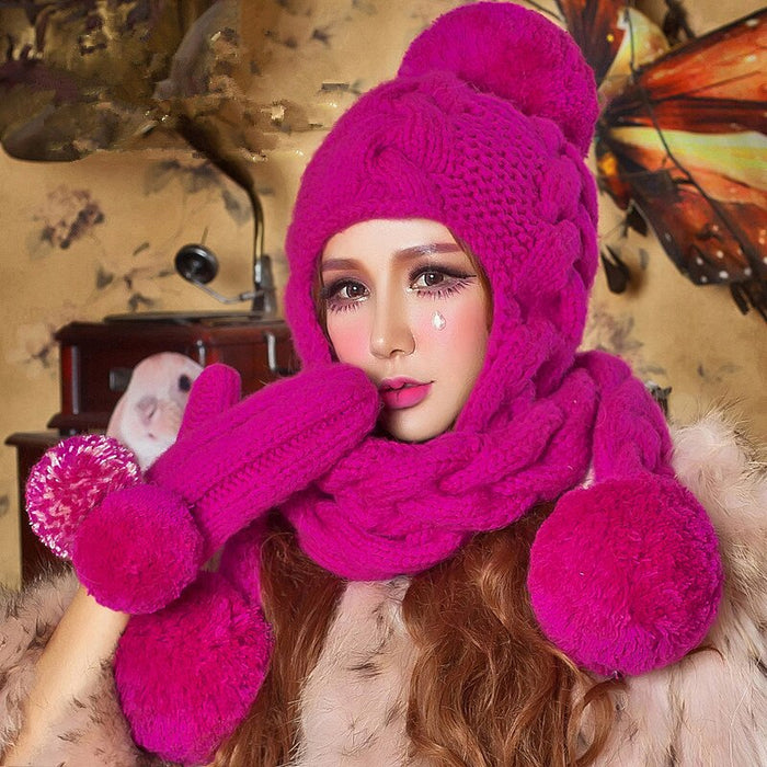 BomHCS Rose Red Beanie Scarf & Gloves Handmade Winter Warm Thick Knitted Hat Caps Christmas