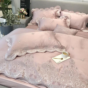 Tencel Silk Pink Luxury Bedding Set Queen king size Duvet Cover Flat/Bed sheet set Bed cover Embroidery Bedclothes parure de lit