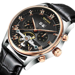 KINYUED Skeleton Tourbillon Mechanical Watch Men Automatic Classic Rose Gold Leather