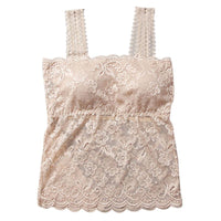 Fashion Crochet Floral Cami Padded Tank Top Cropped Top Women's Bra Sexy Lace Cami Bralette
