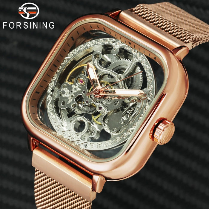 FORSINING Top Brand Luxury Unisex Watch Men Auto Mechanical Hollow Dial Magnet Strap