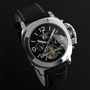 Luxury Brand FORSINING Auto Date Tourbillon Mechanical Watch Male Clock Designer Watches Men Leather Strap Bracelet Watch