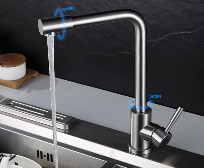 cold or cold and hot water  Kitchen Faucet Brushed 304 Stainless Steel taps stainless steel mixer 312