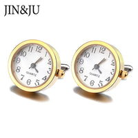 JIN&JU Men High Quality Clock Cufflinks for Men Jewelry Delicacy Cuff links With Battery Digital Watch Cuffs Relojes Gemelos